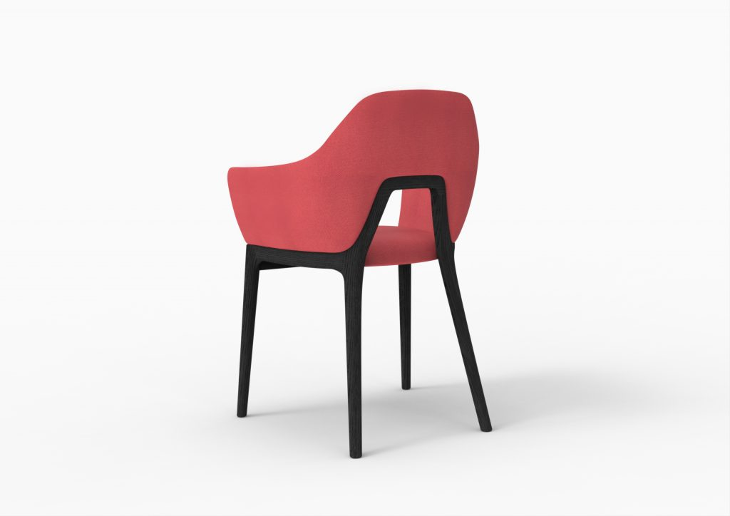 Decó chair - Ash stained black & red upholstery_2
