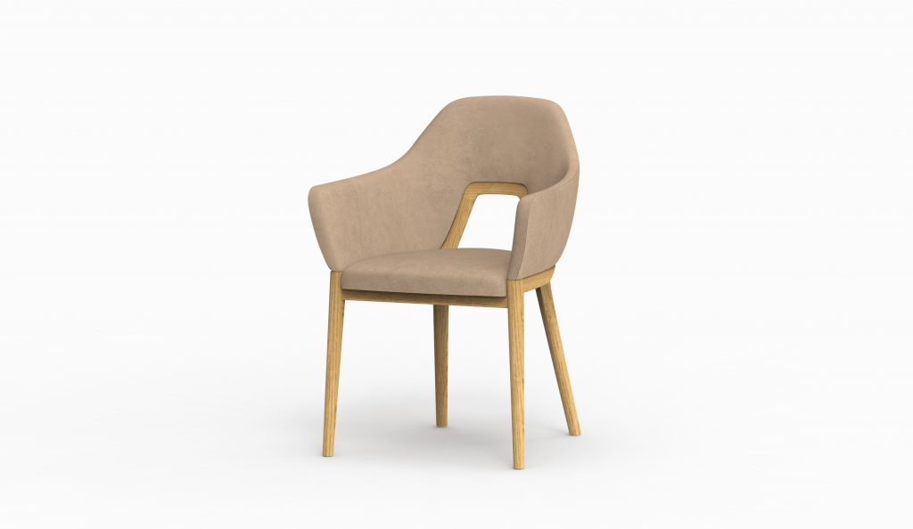 Thelos - Decó chair - Ash stained Oak - Aged Nature 121 axo left