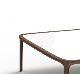Thelos - TIPPO occasional table (Walnut wood - White glass)